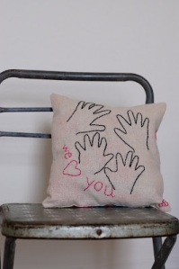 embroidery love pillow