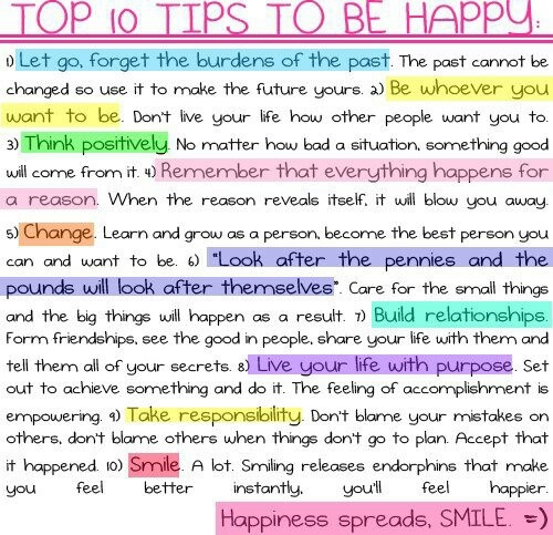 Top 10 Tips to Be Happy